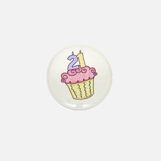 21st Birthday Cupcake Mini Button