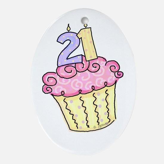 21st Birthday Cupcake Oval Ornament