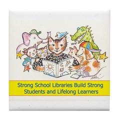 Library Cat Tile Coaster