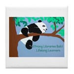 Panda Loves Libraries Tile Coaster