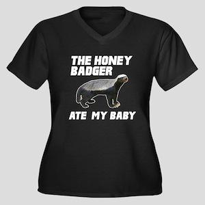 The Honey Badger Ate My Baby Women's Plus Size V-N