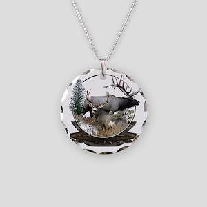 Big Game Elk and Deer Necklace Circle Charm