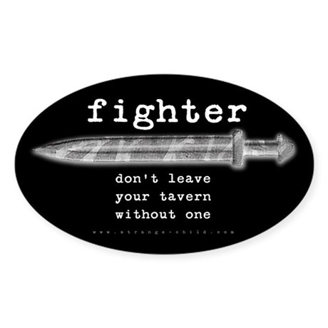 Fighter's Sword Oval Sticker