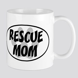 Rescue Mom White Oval Mug