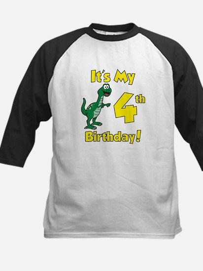 Dinosaur 4th Birthday Shirt Kids Baseball Jersey