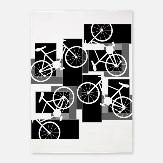 Bike Rectangles 5'x7'Area Rug