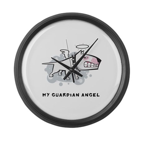 Angel Bull Terrier Large Wall Clock