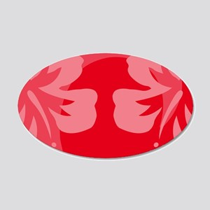 Hibiscus Red 20x12 Oval Wall Decal
