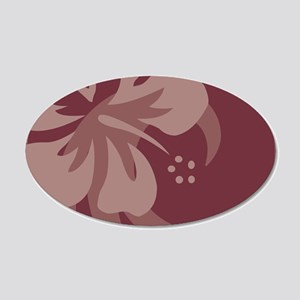 Hibiscus Brown 20x12 Oval Wall Decal