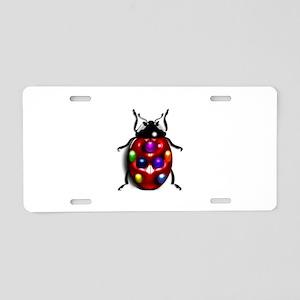Ladybug Colorful Gem Dots Aluminum License Plate