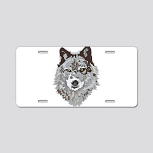 Stylized Grey Wolf Aluminum License Plate