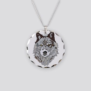 Stylized Grey Wolf Necklace Circle Charm