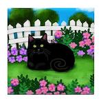 BLACK CAT GARDEN Tile Coaster