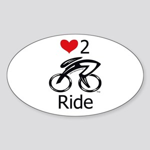 Love 2 ride Sticker (Oval)