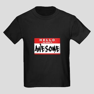 Hello I'm Awesome - Kids Dark T-Shirt