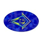 Masonic Square and Compasses 35x21 Oval Wall Peel