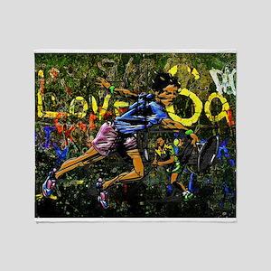 Co-ed Tennis Urban Graffiti Throw Blanket