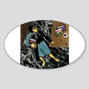 Female Teacher Multi-Course Sticker (Oval)