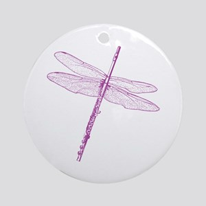 Dragonfly Flute Ornament (Round)