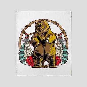 Bear Dream Catcher Throw Blanket