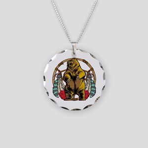 Bear Dream Catcher Necklace Circle Charm