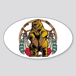 Bear Dream Catcher Sticker (Oval)