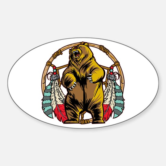 Bear Dream Catcher Sticker (Oval)