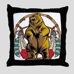 Bear Dream Catcher Throw Pillow