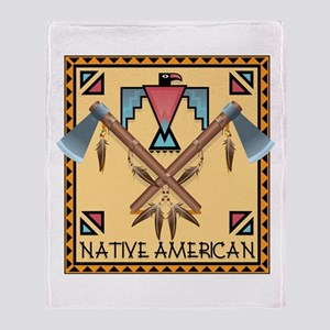 Native American Tomahawks Throw Blanket