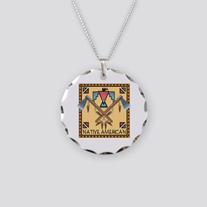 Native American Tomahawks Necklace Circle Charm