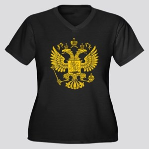 Eagle Coat of Arms Women's Plus Size V-Neck Dark T