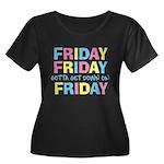 Friday Friday Women's Plus Size Scoop Neck Dark T-