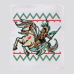 Indian Warrior on Horse Throw Blanket