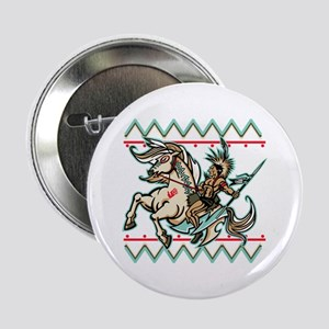 """Indian Warrior on Horse 2.25"""" Button"""