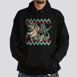 Indian Warrior on Horse Hoodie (dark)