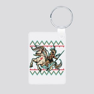 Indian Warrior on Horse Aluminum Photo Keychain