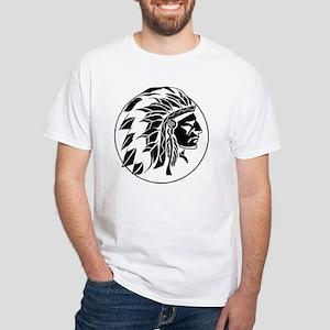 Indian Chief Head White T-Shirt