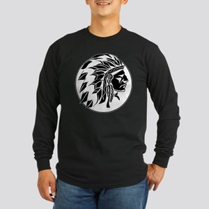 Indian Chief Head Long Sleeve Dark T-Shirt