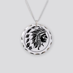 Indian Chief Head Necklace Circle Charm