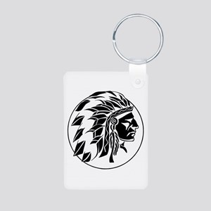 Indian Chief Head Aluminum Photo Keychain