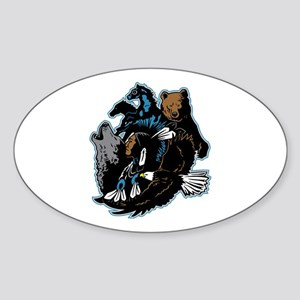 Native American Indian and Wildlife Sticker (Oval)