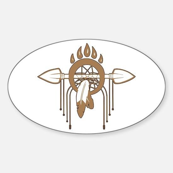 Brown Dreamcatcher Sticker (Oval)