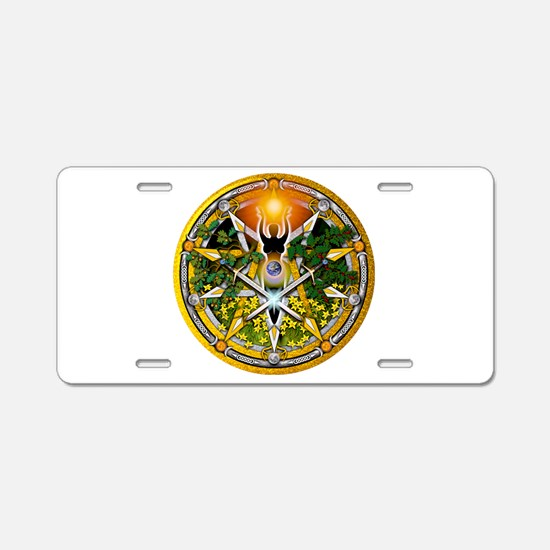 Litha/Summer Solstice Pentacl Aluminum License Pla