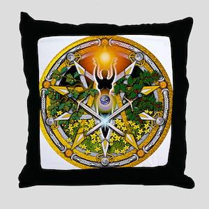 Litha/Summer Solstice Pentacl Throw Pillow