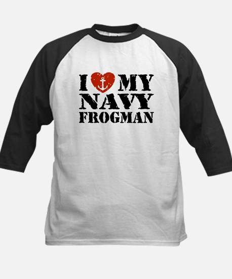 I Love My Navy Frogman Kids Baseball Jersey