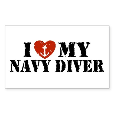 I Love My Navy Diver Sticker (Rectangle)