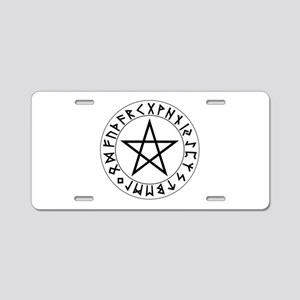 Rune Pentacle Shield Aluminum License Plate