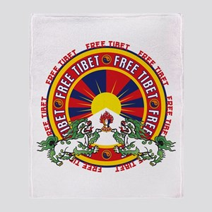 Free Tibet Snow Lions Throw Blanket