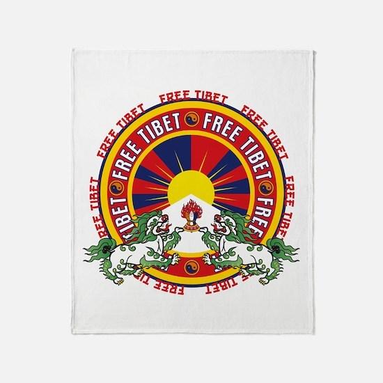 Free Tibet Snow Lions Throw Blanket