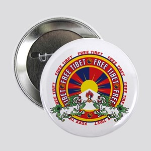 "Free Tibet Snow Lions 2.25"" Button"